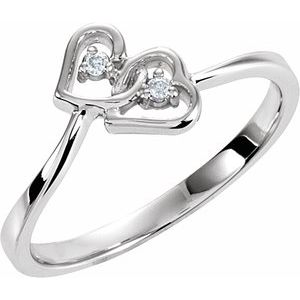 14K White .02 CTW Diamond Double Heart Ring