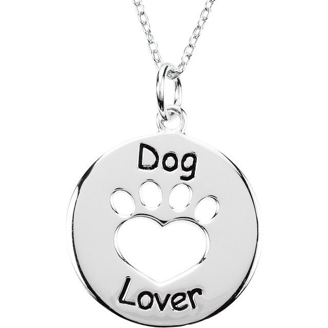 Sterling Silver Heart U Back™ Dog Lover Paw 18