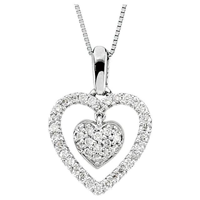14K White 1/4 CTW Diamond Heart 18