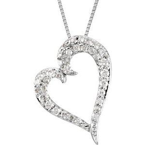 "14K White 1/4 CTW Diamond Heart 18"" Necklace"