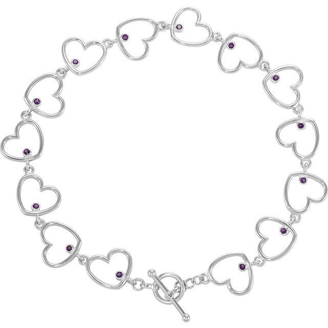 Sterling Silver Amethyst Heart Link 8