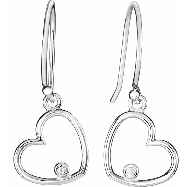 Sterling Silver .03 CTW Diamond Heart Earrings