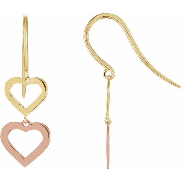 14K Yellow & Rose Heart Design Earrings