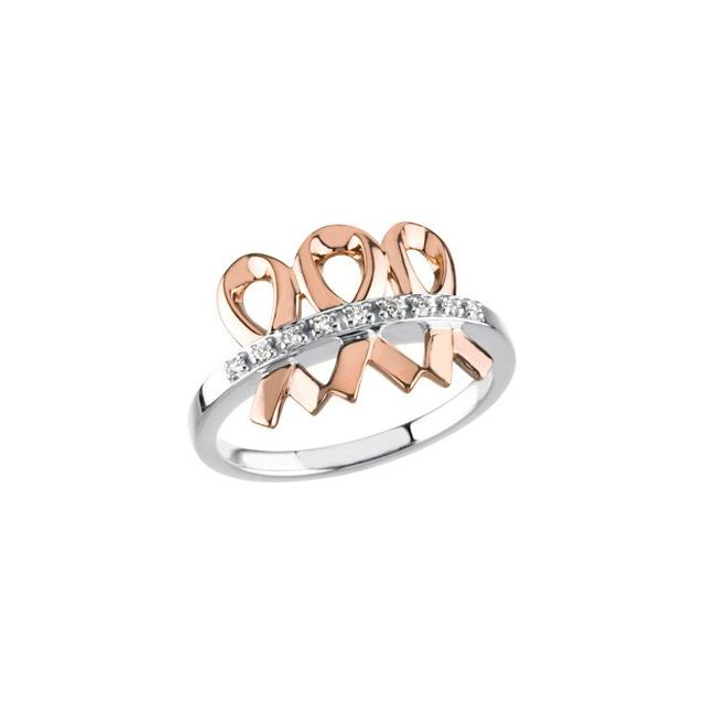 14K White/Rose .08 CTW Diamond Me & My Two Friends® Ring