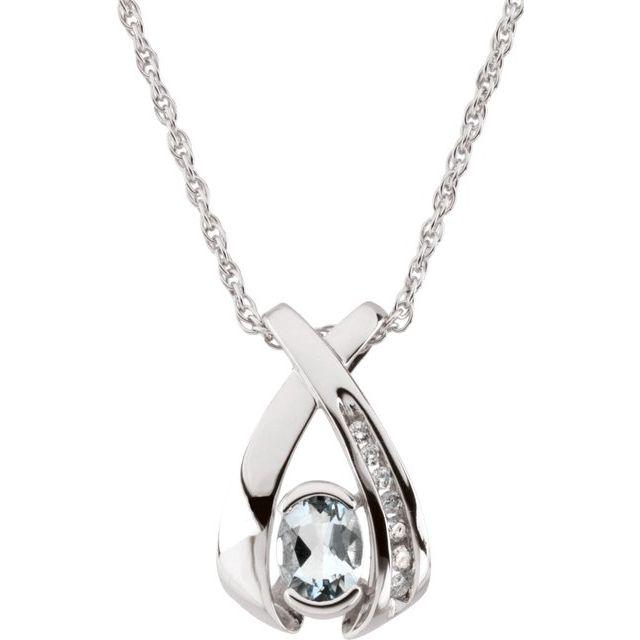14K White 7x5 mm Oval Aquamarine & .08 CTW Diamond 18
