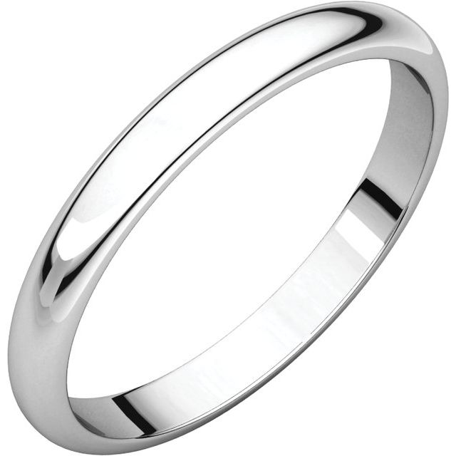 Sterling Silver 2.5 mm Half Round Band Size 8