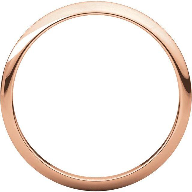 14K Rose 1 mm Half Round Band Size 6
