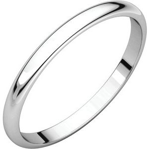 Sterling Silver 2 mm Half Round Light Band Size 8