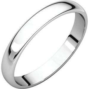 Sterling Silver 3 mm Half Round Light Band Size 9