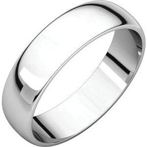 18K White 5 mm Half Round Light Band Size 7