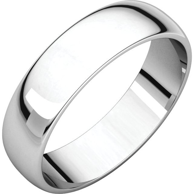Platinum 5 mm Half Round Light Band Size 10
