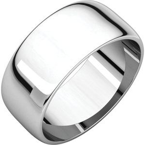 Sterling Silver 8 mm Half Round Light Band Size 8