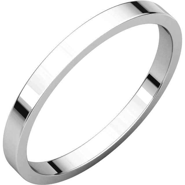 Sterling Silver 2 mm Flat Band Size 15