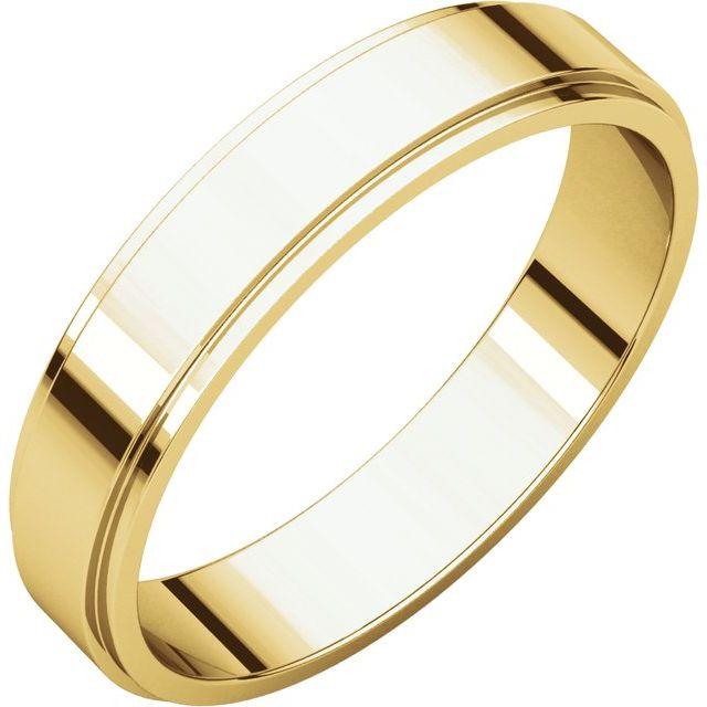 14K Yellow 4 mm Flat Edge Band Size 9.5