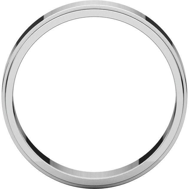 14K White 5 mm Flat Edge Band Size 8