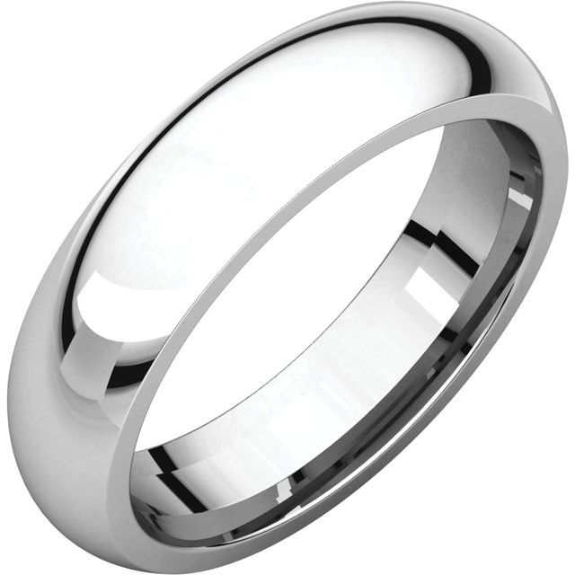 14K White 5 mm Half Round Comfort Fit Band Size 11