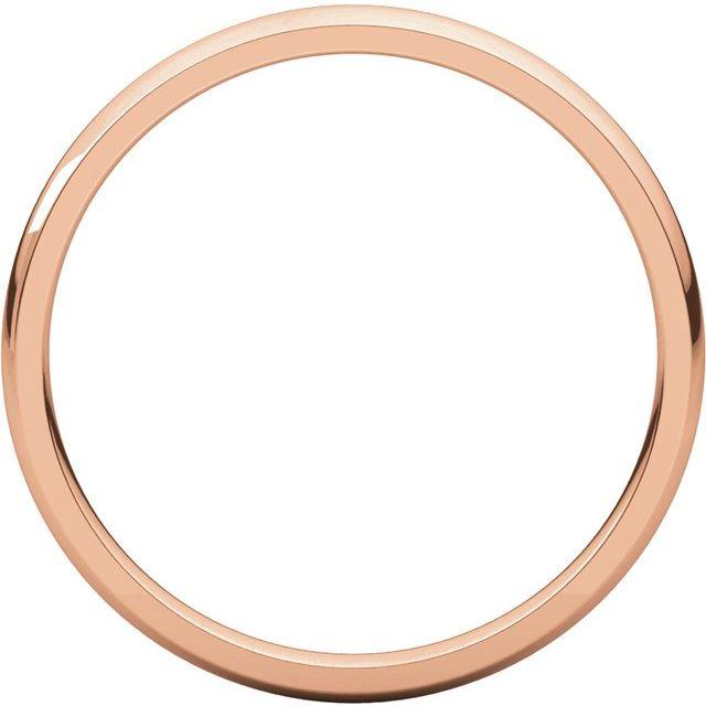 14K Rose 2 mm Half Round Comfort Fit Light Band Size 5.5
