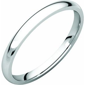 Sterling Silver 2 mm Half Round Comfort Fit Light Band Size 10.5