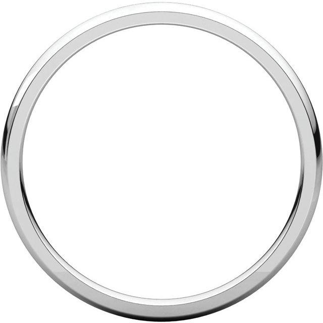 18K White 2 mm Half Round Comfort Fit Light Band Size 7.5