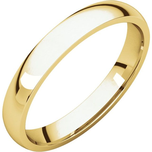 18K Yellow 3 mm Half Round Comfort Fit Light Band Size 7.5