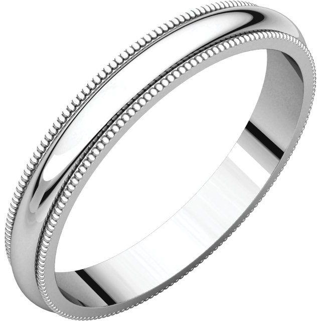 Sterling Silver 3 mm Milgrain Half Round Band Size 15