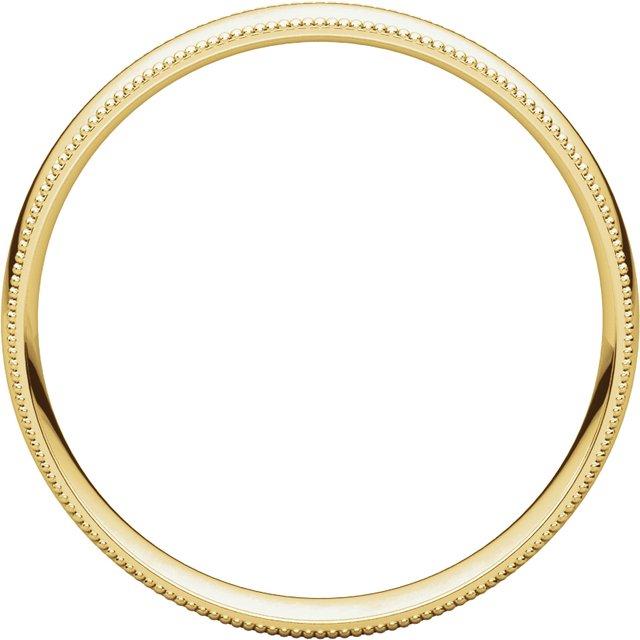 14K Yellow 4 mm Milgrain Half Round Comfort Fit Light Band Size 11