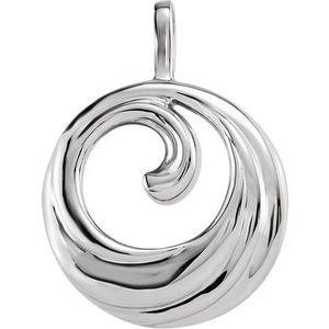 14K White Circle Pendant