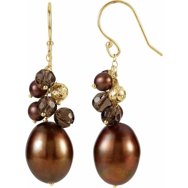 14K Yellow Freshwater Cultured Dyed Chocolate Pearl & Smoky Quartz Earrings