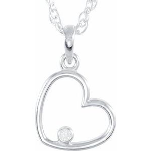 "14K Rose .02 CTW Diamond Heart 18"" Necklace"