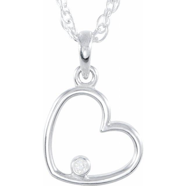 Sterling Silver .03 CTW Diamond Heart 18