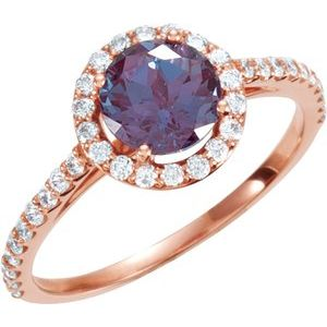 14K Rose Alexandrite & 3/8 CTW Diamond Ring