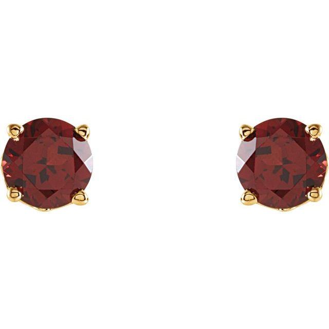 Mozambique Garnet Scroll Design® Round 4-Prong Stud Earrings