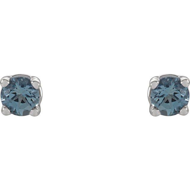 14K White 2.5 mm Round Aquamarine Earrings