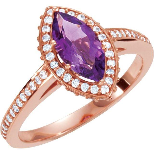 14K Rose Amethyst & 1/3 CTW Diamond Ring