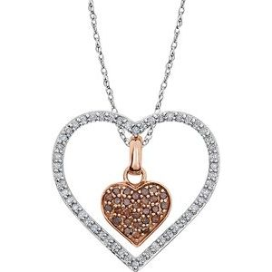 "14K White 1/3 CTW Diamond Heart 18"" Necklace"