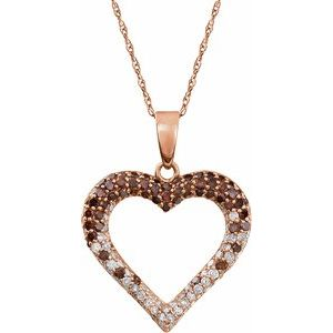 "14K Rose 1/2 CTW Diamond Heart 18"" Necklace"