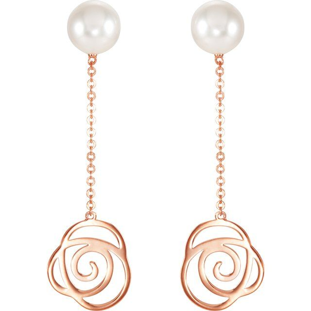 14K Rose Freshwater Cultured Pearl Earrings