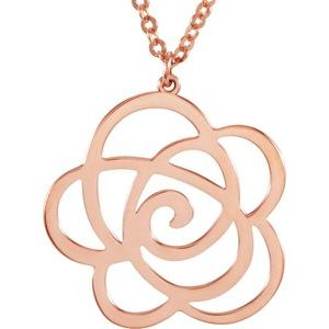 "14K Rose Floral-Inspired 18"" Necklace"