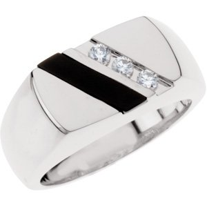 Sterling Silver Onyx & 1/10 CTW Diamond Ring