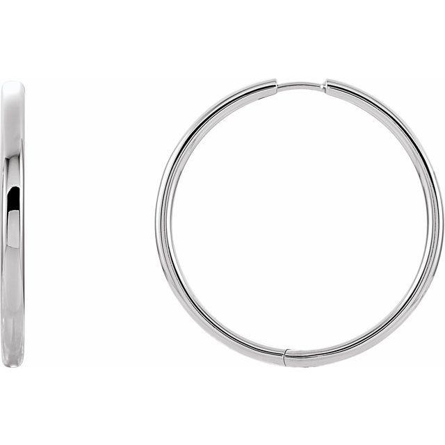 14K White 38.7 mm Hinged Hoop Earrings
