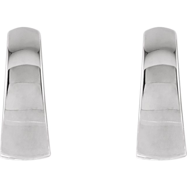 14K White 10.25 mm Tapered Huggie Earrings