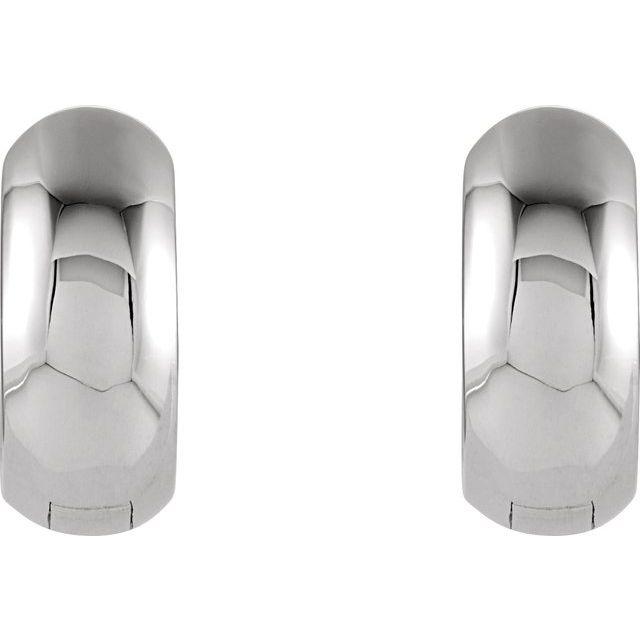 Sterling Silver 12.7x5.5 mm Hinged Huggie Earrings