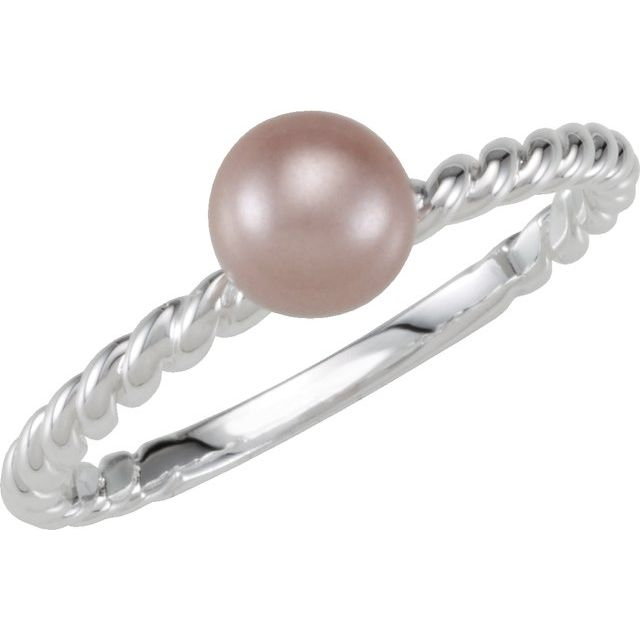 Sterling Silver Imitation Pearl Rope Ring Size 7