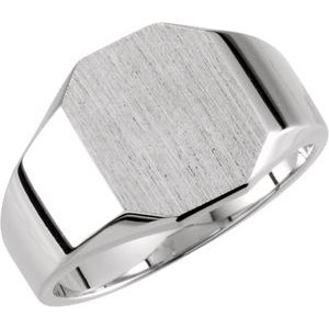 14K White 9x7 mm Octagon Signet Ring