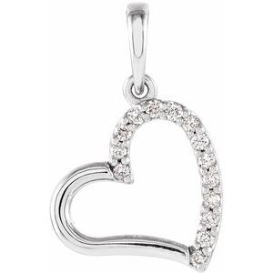14K White .06 CTW Diamond Heart Pendant