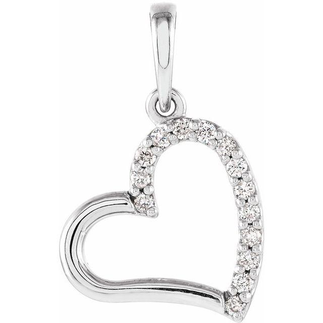 14K White .06 CTW Diamond Heart Pendant