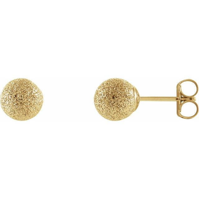 14K Yellow 6 mm Stardust Ball Earrings