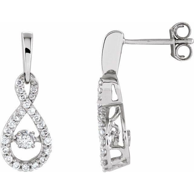 14K White 3/8 CTW Natural Mystara Diamonds® Infinity-Inspired Earrings