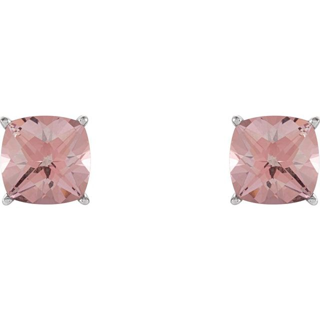 14K White Pink Topaz Earrings