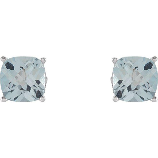 14K White 6x6 mm Cushion Sky Blue Topaz Earrings